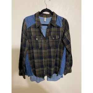 Free people denim and flannel button up.